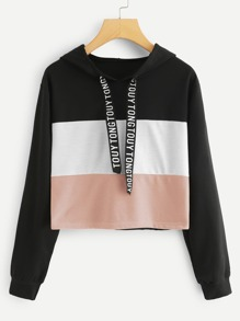 Letter Print Tape Color-block Drawstring Hoodie