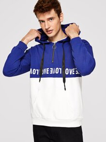 Men Color Block Letter Print Zip Front Hoodie