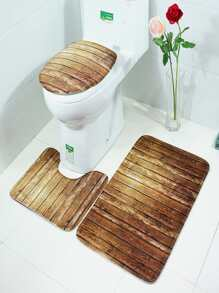 Wood Grain Pattern Bathroom Rug Set 3pcs