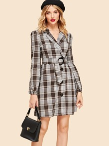 Button Up Belted Plaid Dress