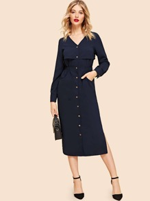Button Up Split Sleeve Longline Dress