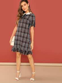 Tie Neck Fringe Plaid Dress