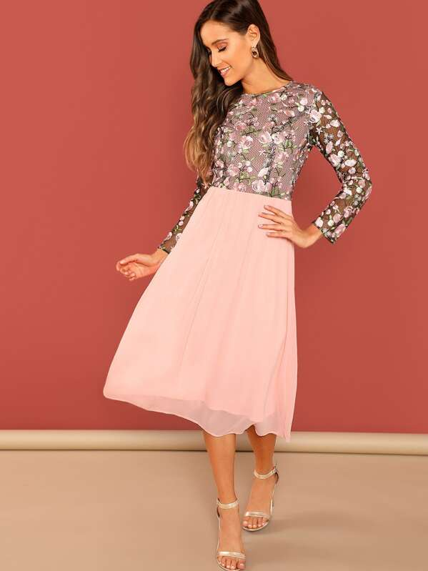 08fdbe6d08 Floral Embroidered Top Combo Midi Dress | SHEIN
