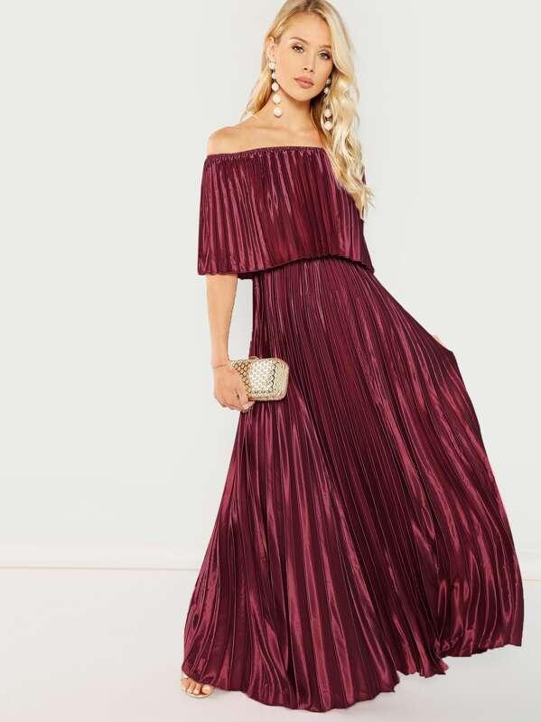 1ad9b3b25a90 Bardot Pleated Maxi Prom Dress