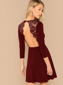 Eyelash Lace Open Back Skater Dress