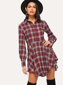 Button Front Collar Plaid Dress
