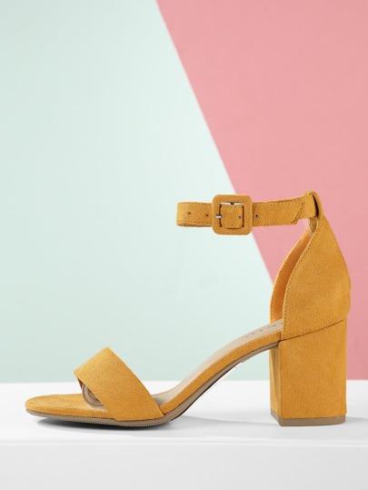 e9e2695a06a Faux Suede Ankle Strap Low Block Heel Sandals