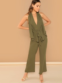 Plunging Neck Drawstring Waist Palazzo Jumpsuit