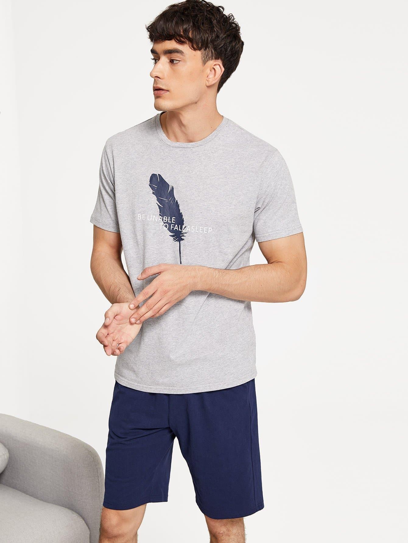 Men Mixed Print Pajama Set Men Mixed Print Pajama Set