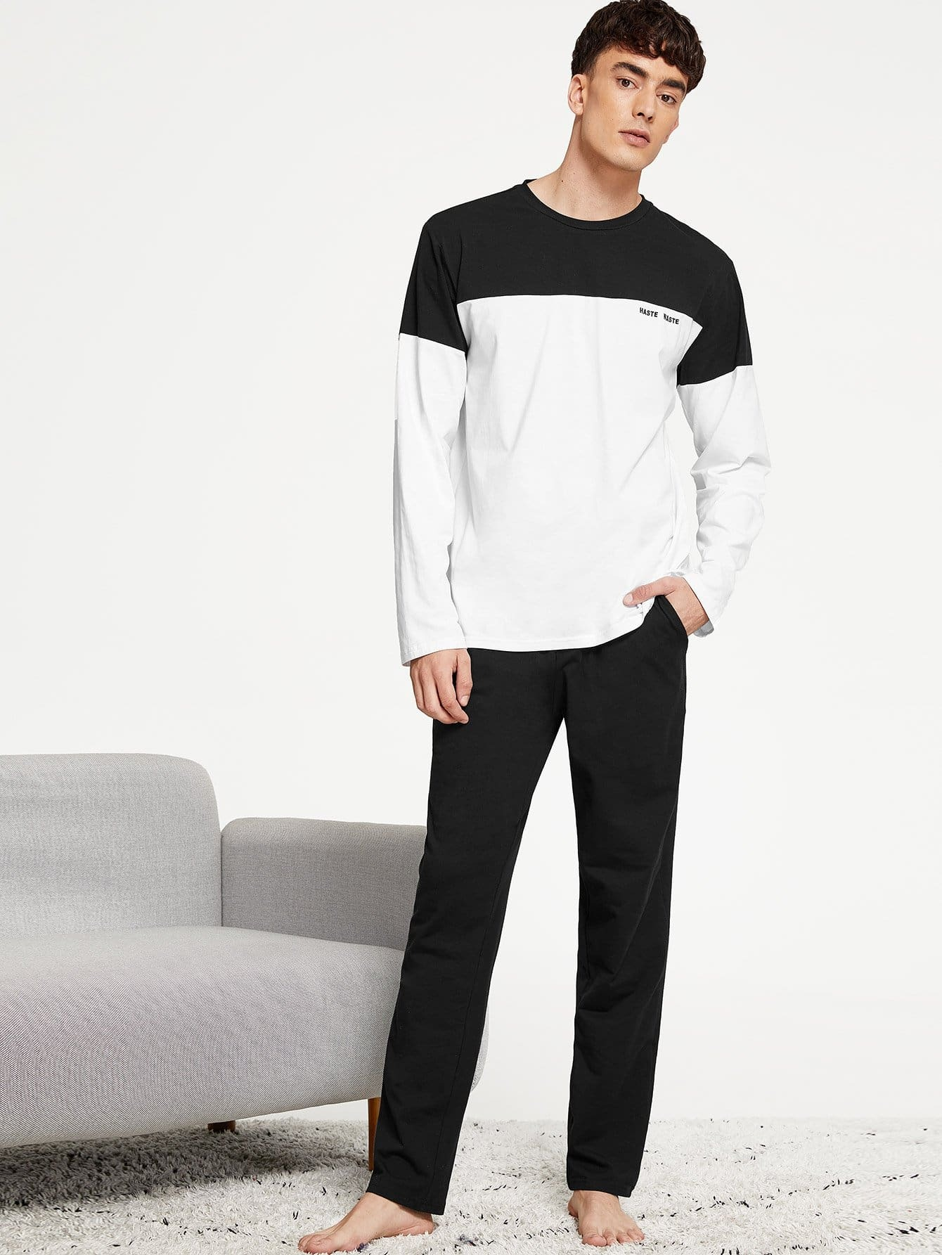 Men Colorblock Top and Slant Pocket Pants PJ Set Men Colorblock Top and Slant Pocket Pants PJ Set