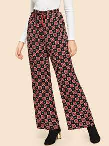 Drawstring Waist Wide Leg Pants