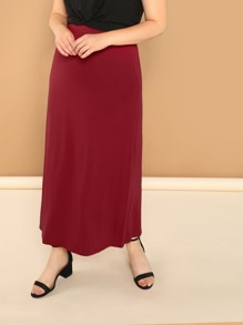 Plus Solid Knit Column Skirt