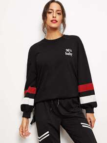 Zip Side Striped Sleeve Sweatshirt