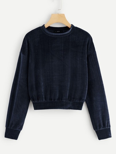 Drop Shoulder Ribbed Velvet Sweatshirt