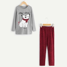 Girls Animal Print Top & Pants Set
