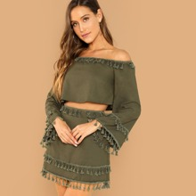 Army Green Vacation Long Sleeve Plain Tassel Fabric has no stretch Spring Two-piece Outfits, size features are:Sleeve Length : Long Sleeve,