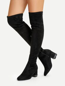 Studded Detail Thigh High Suede Boots