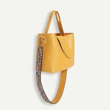 PU Satchel Bag With Snakeskin Print Strap
