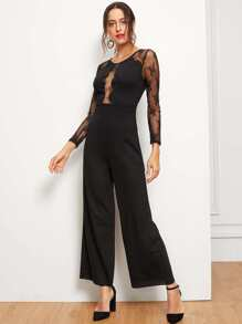 Sheer Lace Insert Scallop Trim Wide Leg Jumpsuit