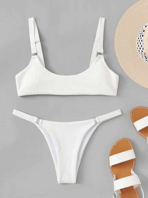 1b6e64e0d52e Scoop Neck Top With String Textured Bikini Set | SHEIN