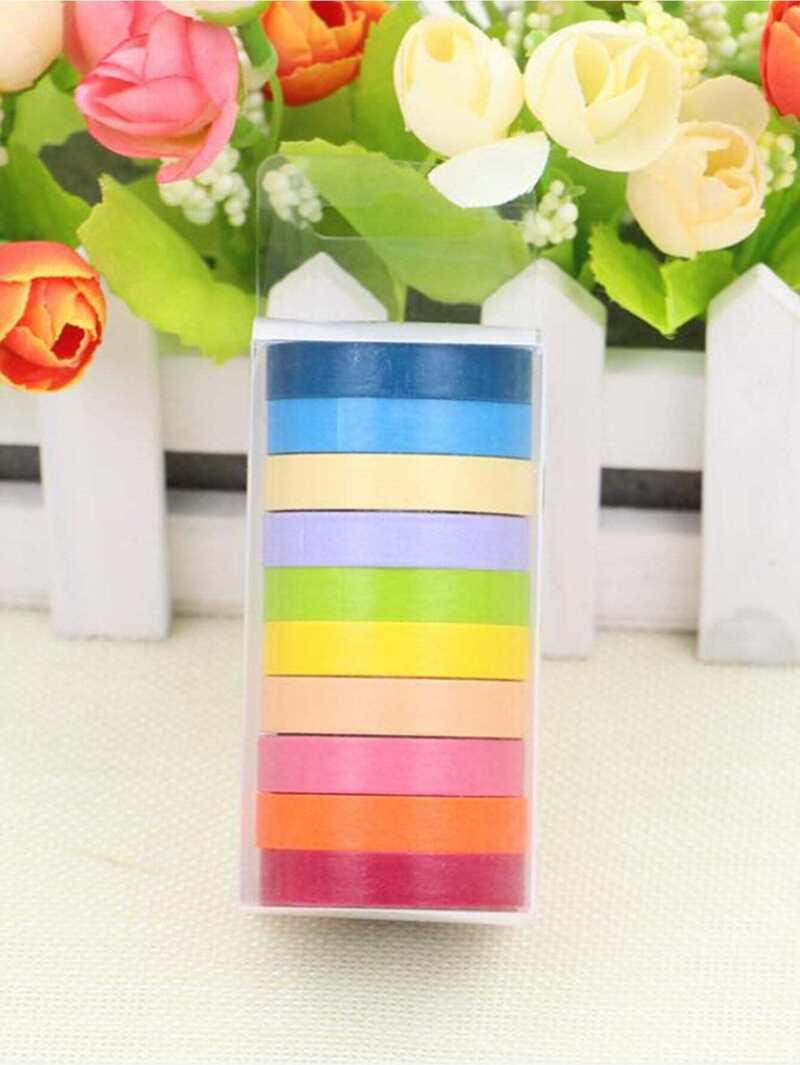 1b772fde Cinta decorativa de color de arco iris 10 piezas   ROMWE