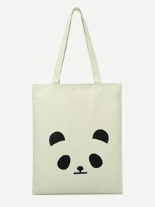 Panda Print Canvas Tote Bag