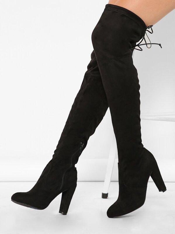 7bbd104e84e Almond Toe Chunky Heel Thigh High Boots