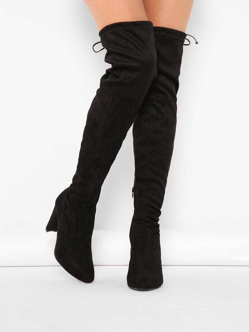 8b4f233c66f Almond Toe Chunky Heel Thigh High Boots