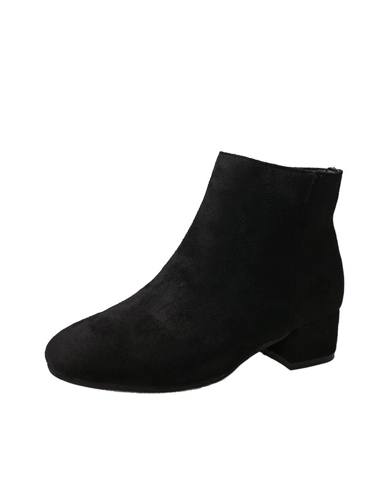 Side Zip Suede Boots