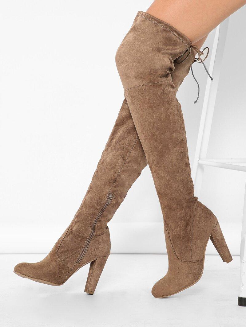 72743c26dbb Almond Toe High Heel Thigh High Boots