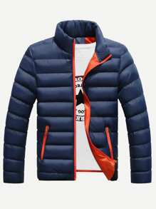 Men Solid Stand Neck Puffer Coat