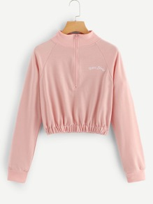 Letter Embroidered Quarter Zip Sweatshirt