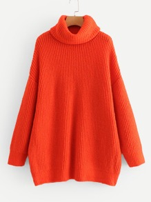 Neon Orange High Neck Solid Jumper