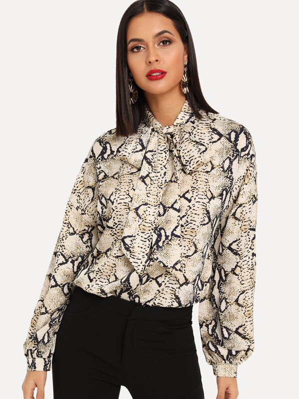 bca635435efe7c Cheap Snake Print Tie Neck Blouse for sale Australia