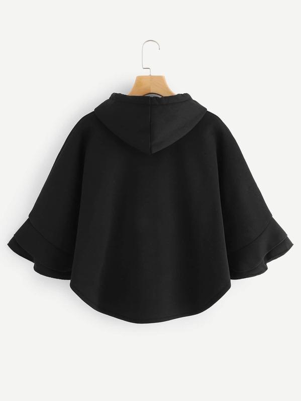 291857ea3c14a Manteau cape à capuche avec pompon   SHEIN