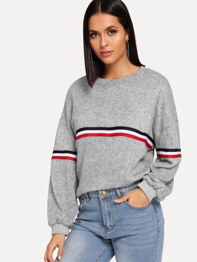 8506cb304d2 Striped Tape Panel Sweater