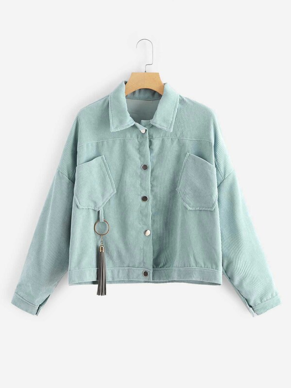 9d2768af09 Plus Solid Single Breasted Corduroy Jacket | SHEIN