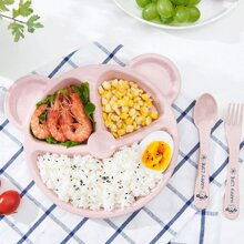3 Compartment Plate 1pc & Spoon 1pc