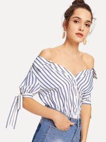Knot Cuff Button Up Striped Bardot Top