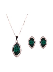 Gemstone Pendant Necklace & Earrings