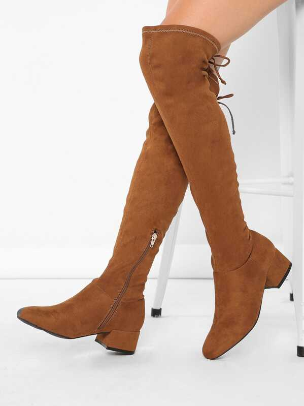 8ad1c8e8a2 Square Toe Low Block Heel Over the Knee Boots | SHEIN IN