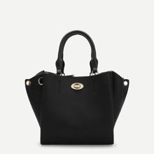 Twist Lock Detail PU Satchel Bag