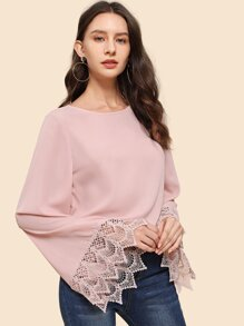 Contrast Lace Bell Sleeve Solid Top