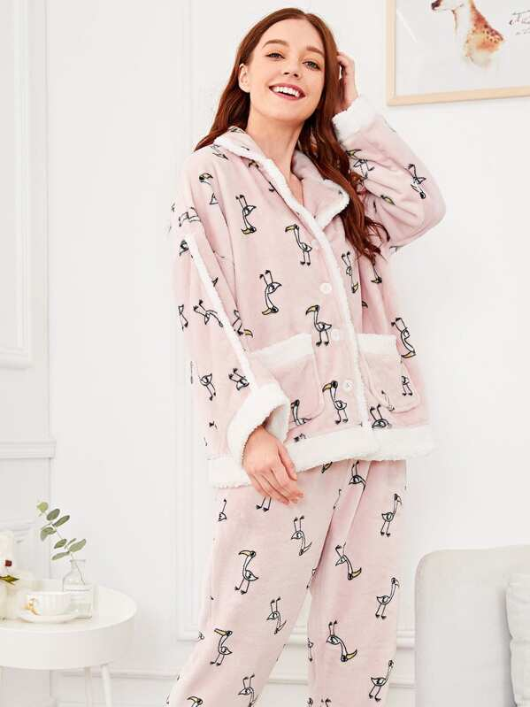 3139224439 Bird Print Plush Pajama Set | SHEIN