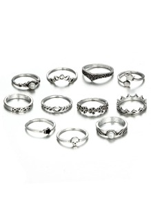 Flower And Star Detail Ring Set 11pcs