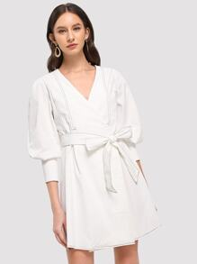 Contrast Stitch Self Tie Waist Surplice Wrap Dress