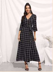 Rolled Tab Sleeve Surplice Wrap Grid Dress