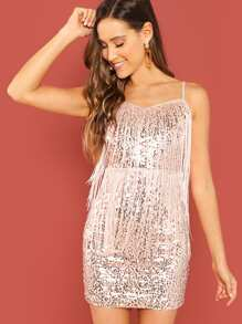 Tiered Fringe Sequin Cami Dress