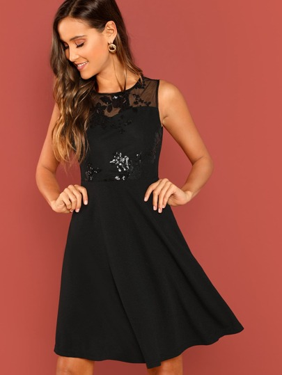 Mesh Yoke Sequin Cluster Flare Dress