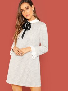 Tie Neck Contrast Trim Tweed Dress